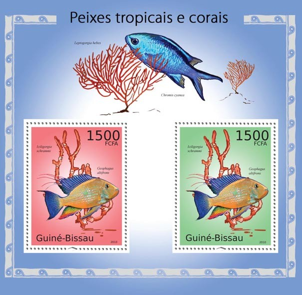 Tropical fish & corals - Issue of Guinée-Bissau postage stamps