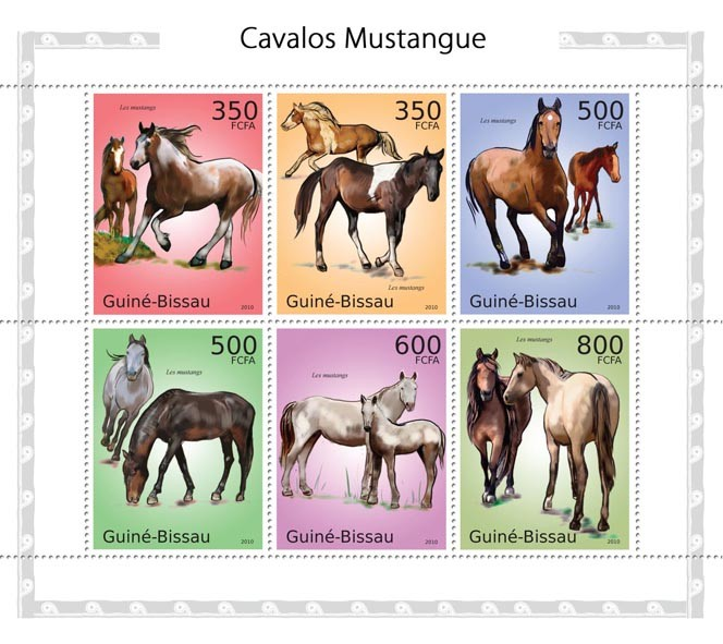 Mustangs - Issue of Guinée-Bissau postage stamps