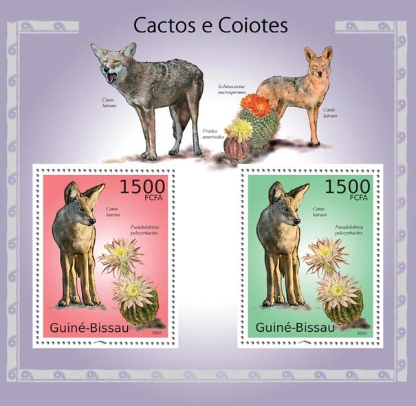 Cactus & coyotes - Issue of Guinée-Bissau postage stamps