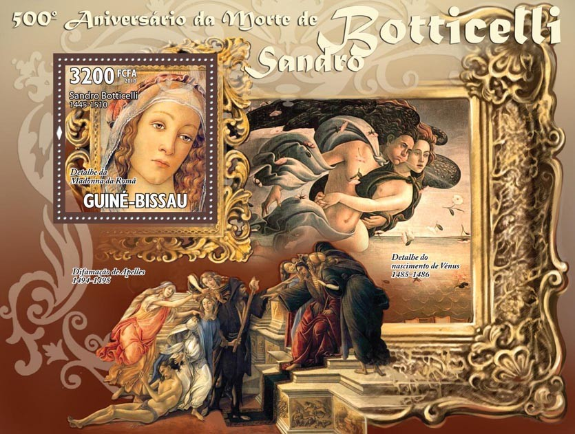 Art - 500th Death Boticelli (1445-1510), (Paintings). - Issue of Guinée-Bissau postage stamps