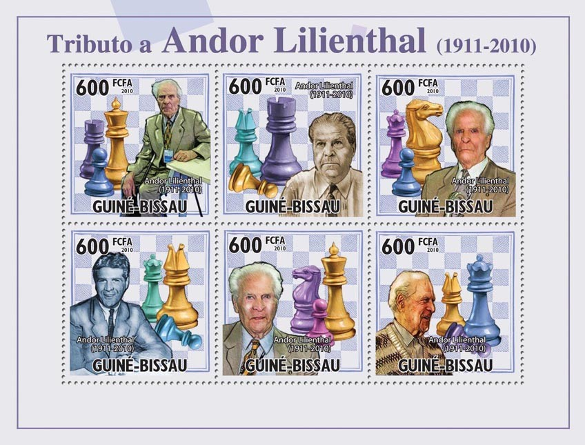Chess - Tribute Andor Lilienthal, (1911-2010). - Issue of Guinée-Bissau postage stamps