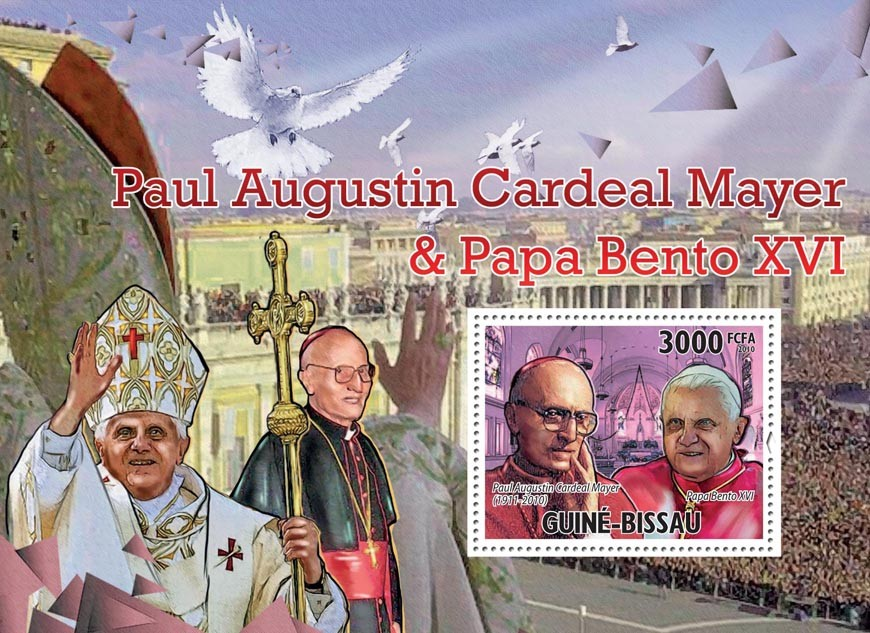 Tribute Paul Mayer with Benedict XVI. - Issue of Guinée-Bissau postage stamps