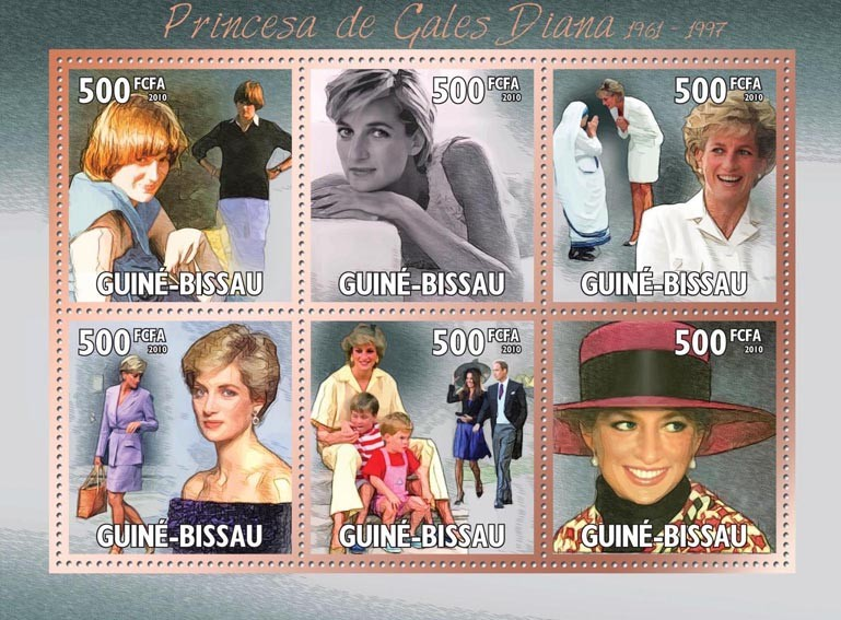 Diana - Princess of Wales (1961-1997). - Issue of Guinée-Bissau postage stamps