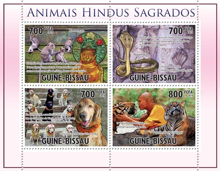 Holy animals by Hinduism. - Issue of Guinée-Bissau postage stamps