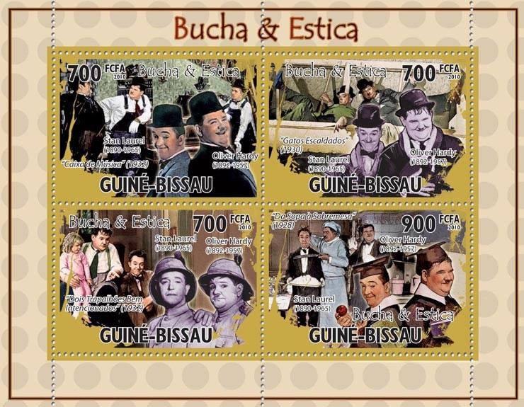 Actors, cinema - Lauren & Hardy. - Issue of Guinée-Bissau postage stamps