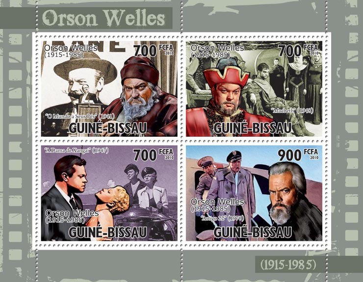 Actor, cinema - Orson Welles. - Issue of Guinée-Bissau postage stamps