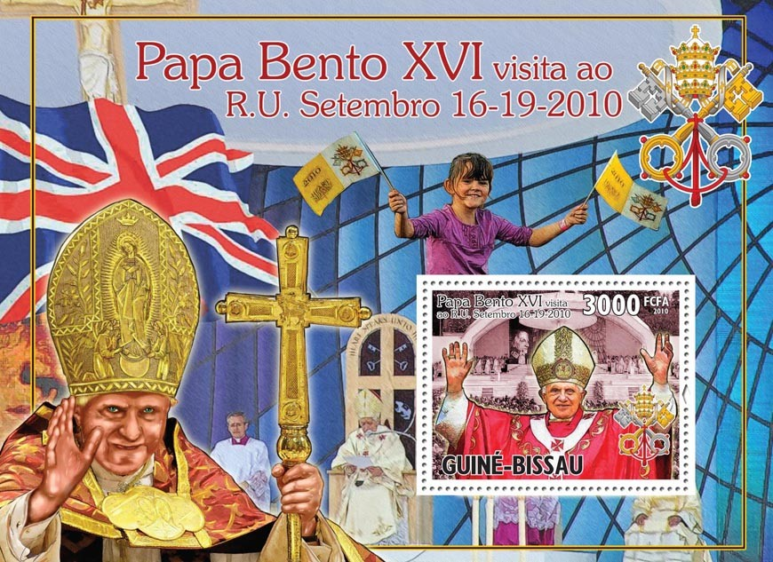 Pope Benedict XVI in England. - Issue of Guinée-Bissau postage stamps
