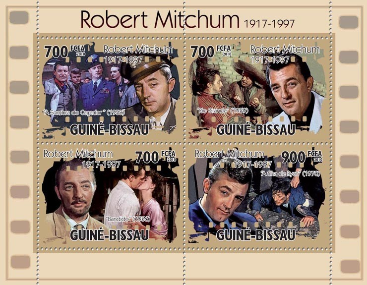 Actor, cinema - Robert Michum (1917-1997). - Issue of Guinée-Bissau postage stamps