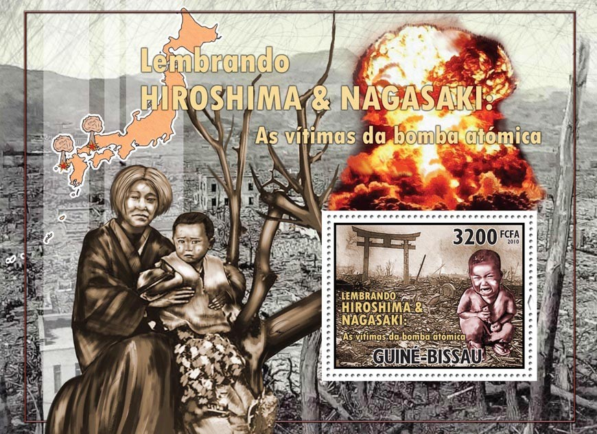 World War - Hiroshima-Nagasaki. - Issue of Guinée-Bissau postage stamps