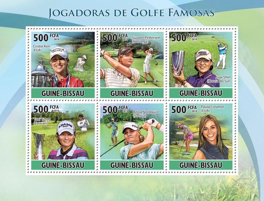 Famous female golf players - Issue of Guinée-Bissau postage stamps