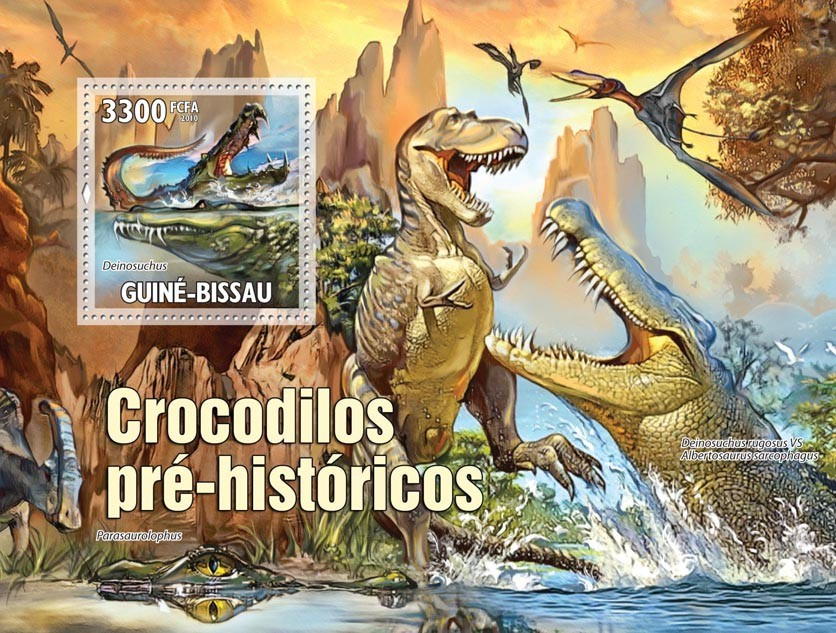Evolution of Crocodiles - Issue of Guinée-Bissau postage stamps