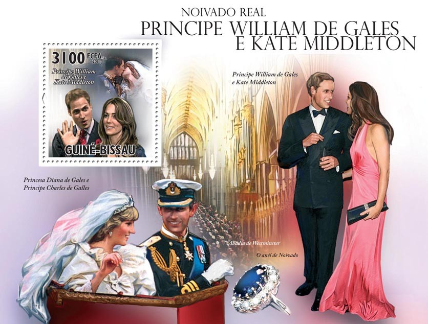 Royal Engagement.Prince William of Wales and Kate Middleton - Issue of Guinée-Bissau postage stamps