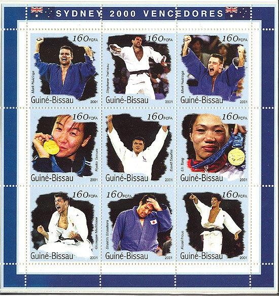 Judo  9 x 160 FCFA - Issue of Guinée-Bissau postage stamps