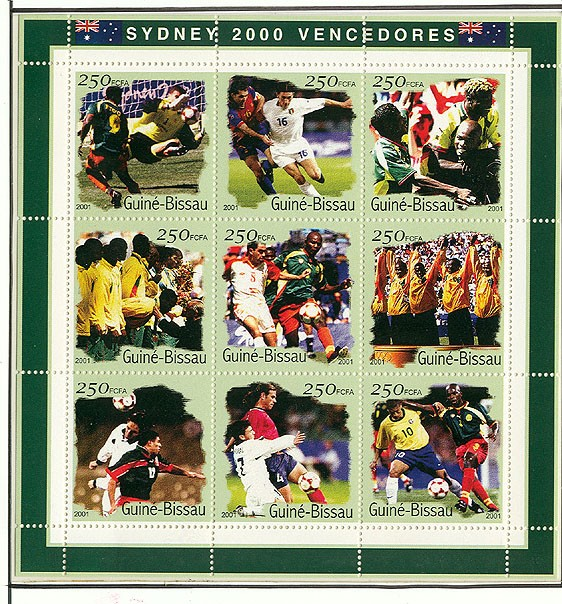Football  9 x 250 FCFA - Issue of Guinée-Bissau postage stamps