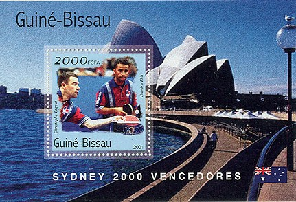Ping pong 2000 FCFA   S/S - Issue of Guinée-Bissau postage stamps