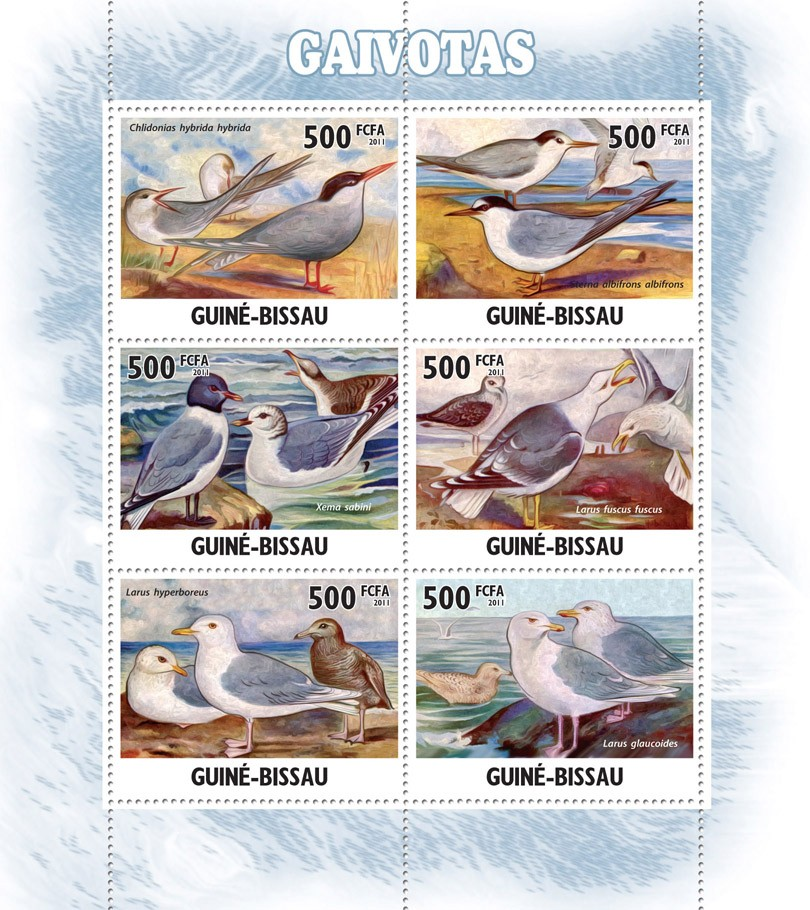 Seagulls ( Birds ). - Issue of Guinée-Bissau postage stamps