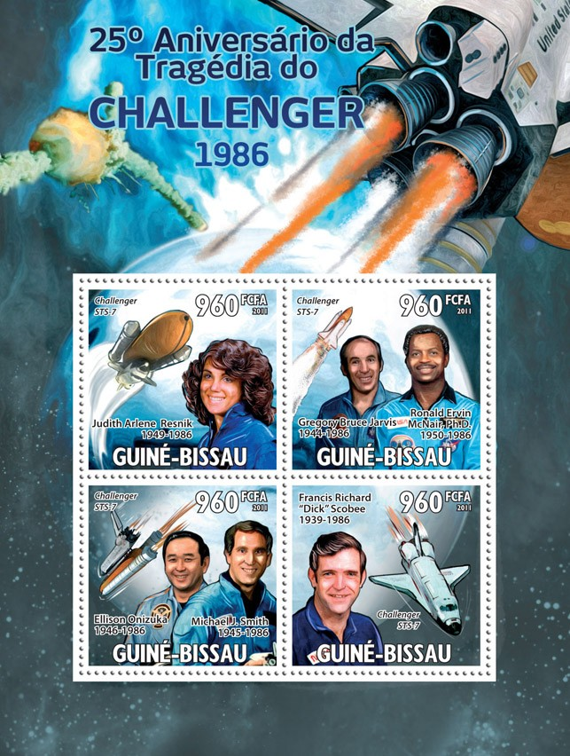 25th Anniversary of Tragedy of Challenger 1986. - Issue of Guinée-Bissau postage stamps