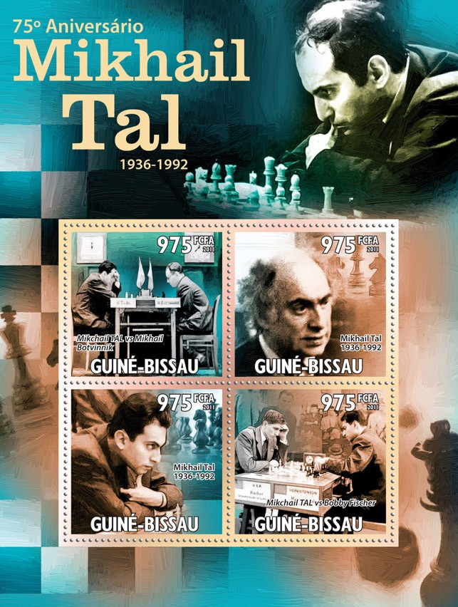 75th Anniversary of Mikhail Tal (Chess). - Issue of Guinée-Bissau postage stamps