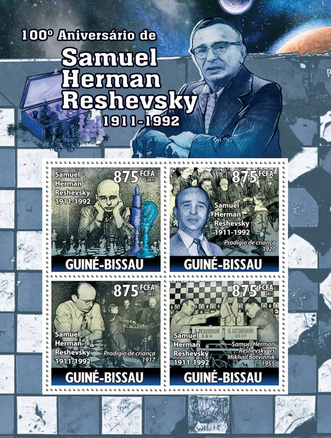 100th Anniversary of Samuel Herman Reshevsky (Chess). - Issue of Guinée-Bissau postage stamps
