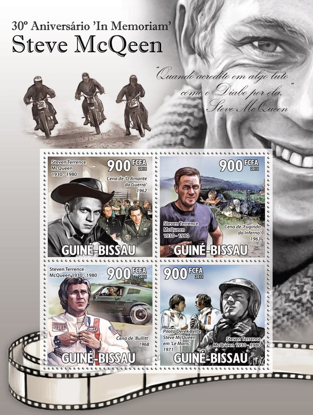 30th Anniversary In Memoriam Steve McQeen. - Issue of Guinée-Bissau postage stamps