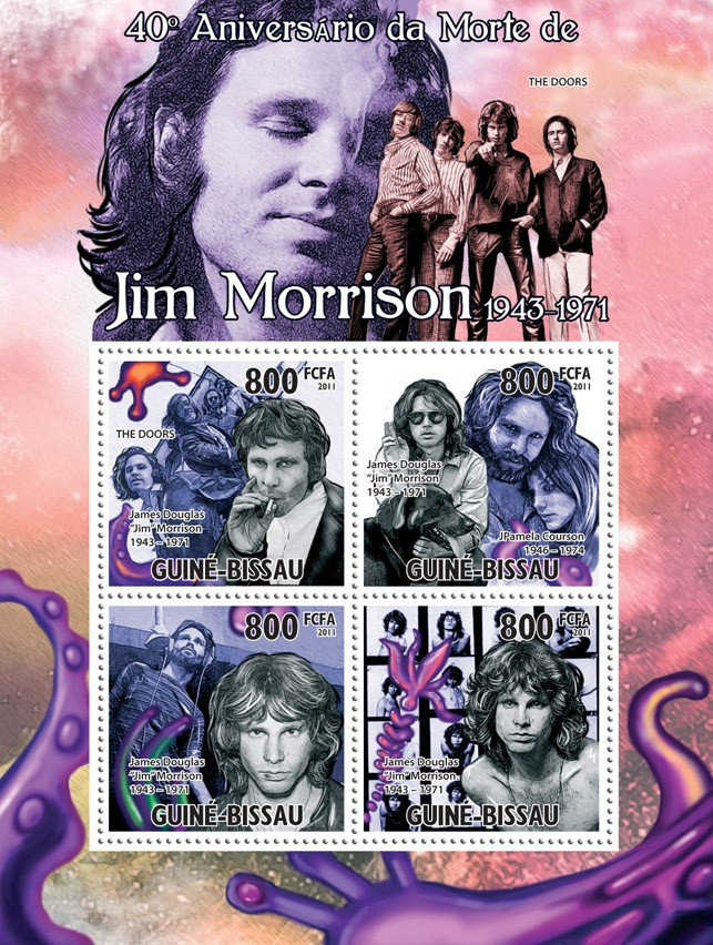 40th Anniversary of Death of Jim Morrison. - Issue of Guinée-Bissau postage stamps