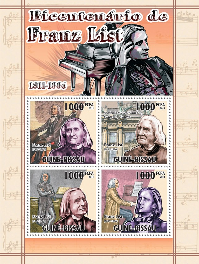 Bicentennial of Franz List (1811-1886). - Issue of Guinée-Bissau postage stamps