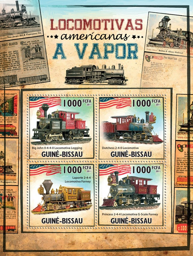 Steam Locomotives of America. - Issue of Guinée-Bissau postage stamps