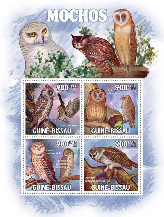 Owls. - Issue of Guinée-Bissau postage stamps