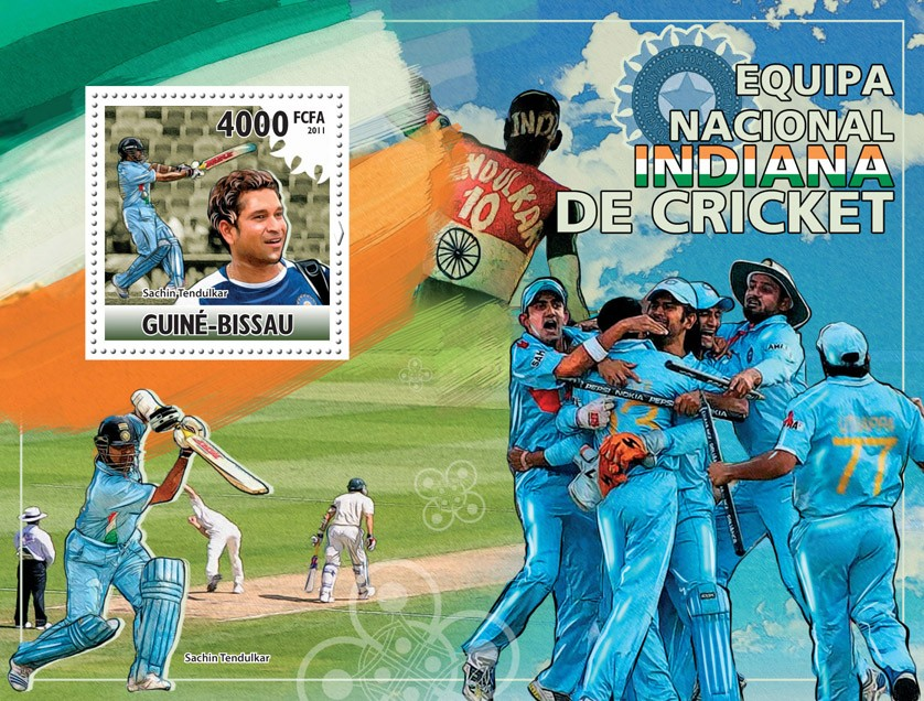National Team of Indian Cricket. - Issue of Guinée-Bissau postage stamps