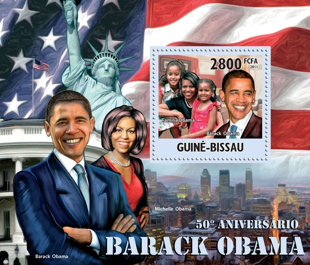 50th Anniversary of Barack Obama. - Issue of Guinée-Bissau postage stamps