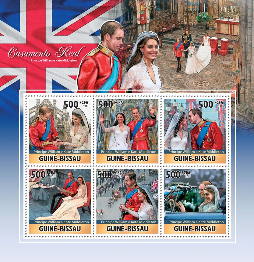 Royal Weddings, Prince William & Kate Middleton. - Issue of Guinée-Bissau postage stamps