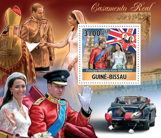 Royal Weddings, Prince William & Kate Middleton, I. - Issue of Guinée-Bissau postage stamps
