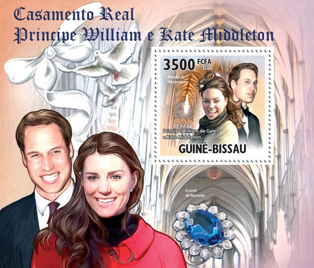 Royal Weddings, Prince William & Kate Middleton, II. - Issue of Guinée-Bissau postage stamps