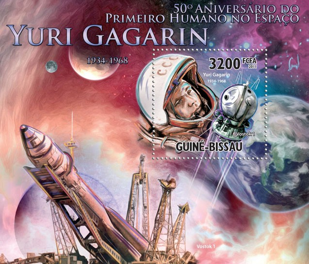 50th Anniversary of First Human in Space, Yuri Gagarin (1934-1968 ). - Issue of Guinée-Bissau postage stamps
