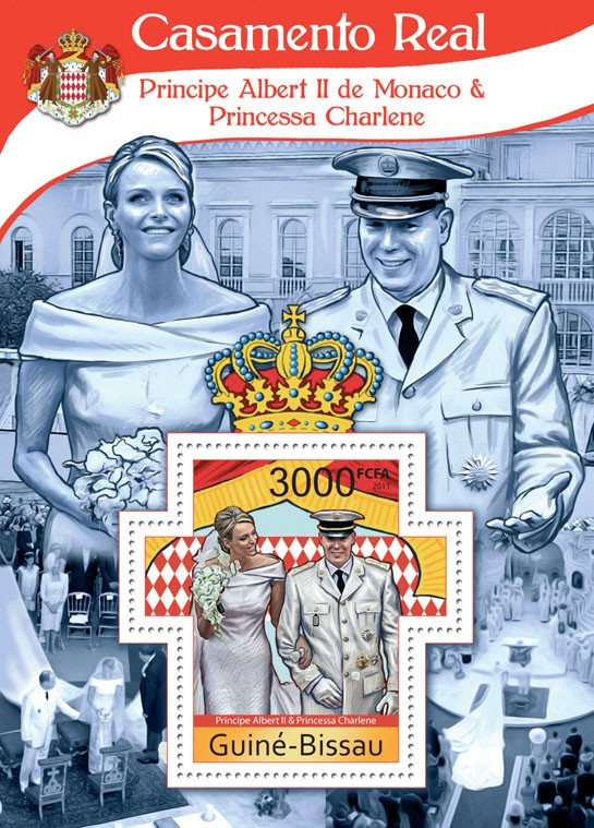 Royal Wedding Prince Albert II of Monaco & Princess Charlene - Issue of Guinée-Bissau postage stamps