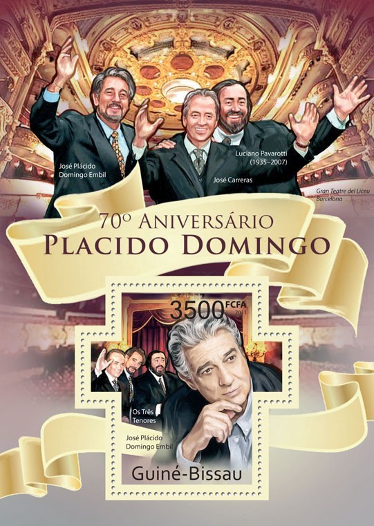 70th Anniversary of Placido Domingo - Issue of Guinée-Bissau postage stamps