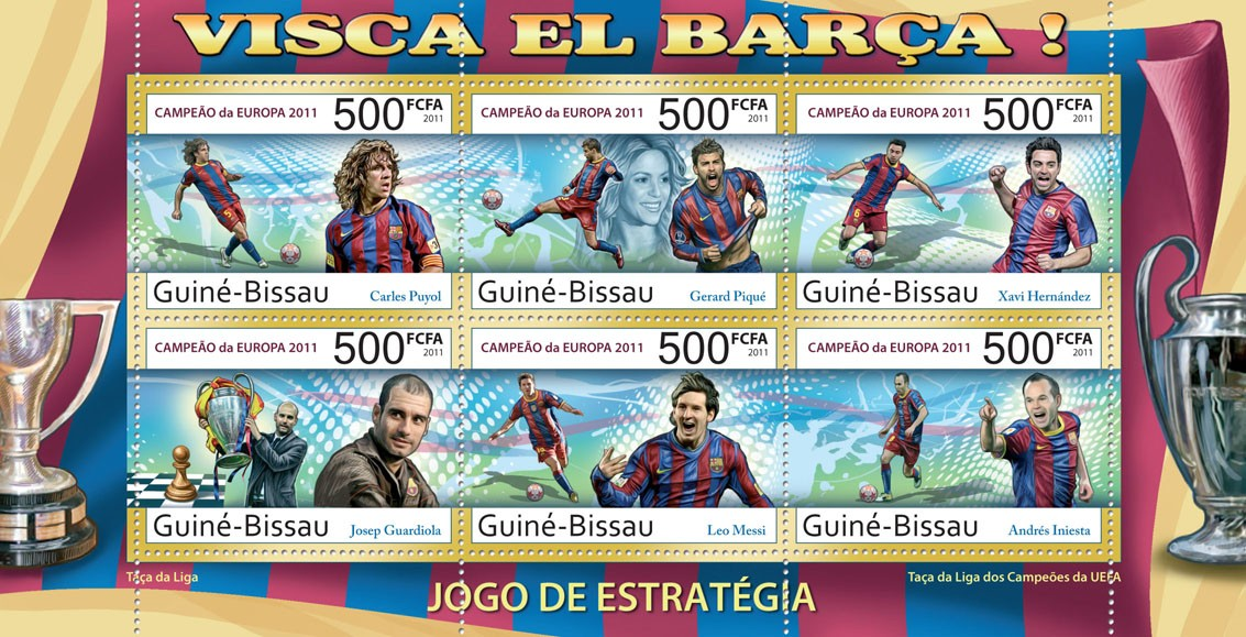 Football - Barcelona   - Issue of Guinée-Bissau postage stamps