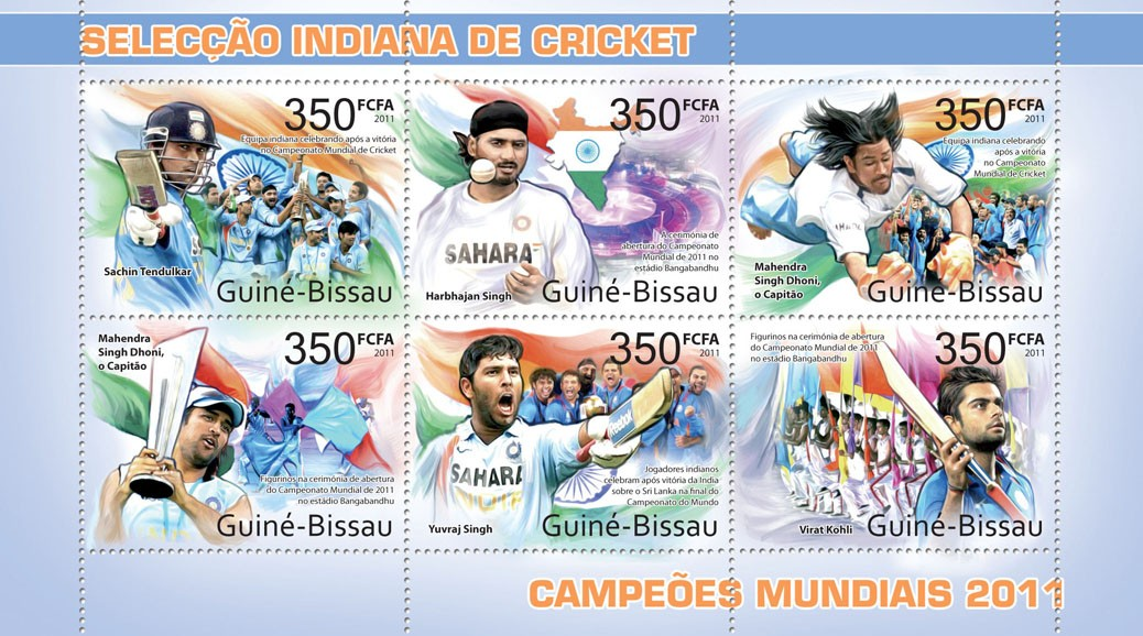 India's Cricket world champions 2011 - Issue of Guinée-Bissau postage stamps