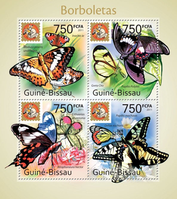 Butterflies - Philanippon - Issue of Guinée-Bissau postage stamps