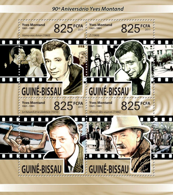 90th Anniversary of Yves Montand - Issue of Guinée-Bissau postage stamps
