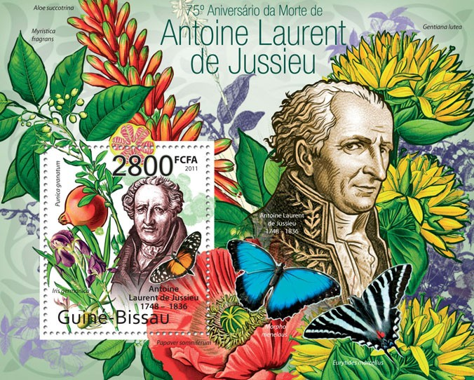 75th Anniversary of death of Antoine Laurent de Jussieu - Issue of Guinée-Bissau postage stamps