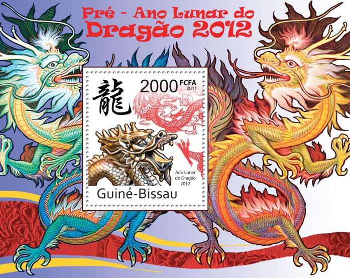 Lunar Year of Dragon 2012. - Issue of Guinée-Bissau postage stamps