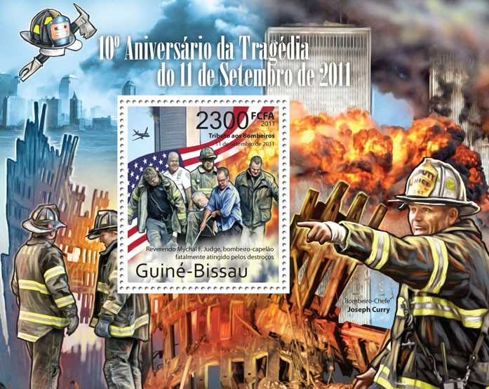 10th Anniversary of the Tragedy of September 11, 2011. - Issue of Guinée-Bissau postage stamps