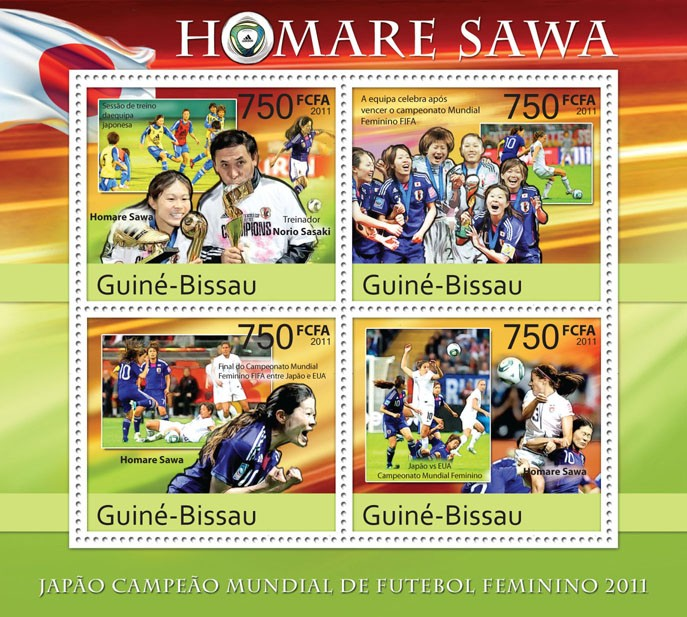 Homare Sawa, World Soccer Championship Japan - 2011. - Issue of Guinée-Bissau postage stamps