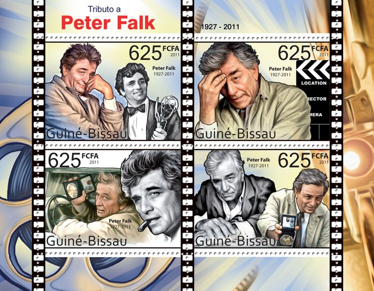 Tribute to Peter Falk (1927-2011), Cinema. - Issue of Guinée-Bissau postage stamps