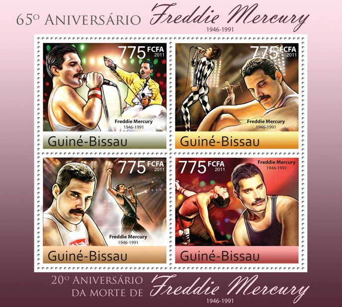 65th Anniversary of Freddie Mercury (1946-1991). - Issue of Guinée-Bissau postage stamps