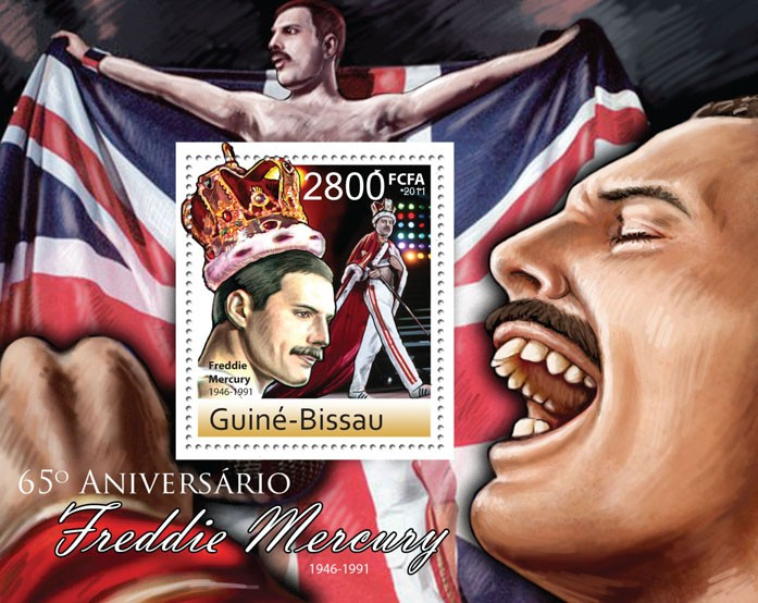 65th Anniversary of Freddie Mercury ( 1946 - 1991 ). - Issue of Guinée-Bissau postage stamps