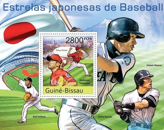 Japanese Baseball Stars, (Yoshinori Tateyama). - Issue of Guinée-Bissau postage stamps