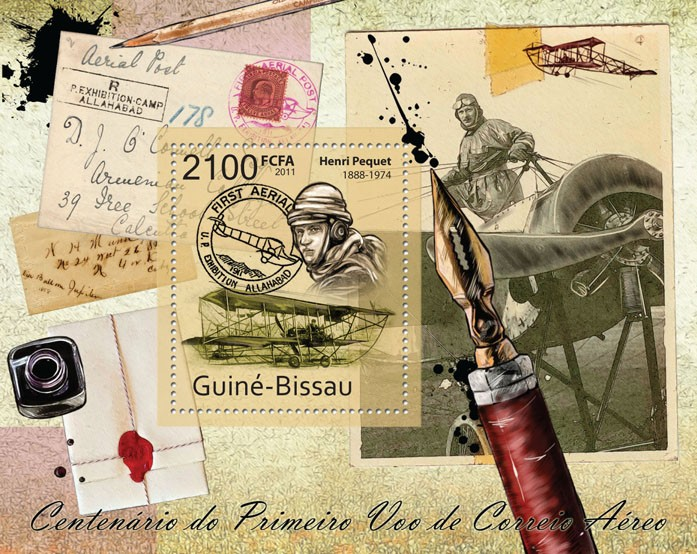 Centenary of the First Air Mail Flight, Aircrafts. - Issue of Guinée-Bissau postage stamps
