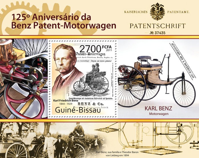 125th Anniversary of the First Patent of Mercedes-Benz. - Issue of Guinée-Bissau postage stamps